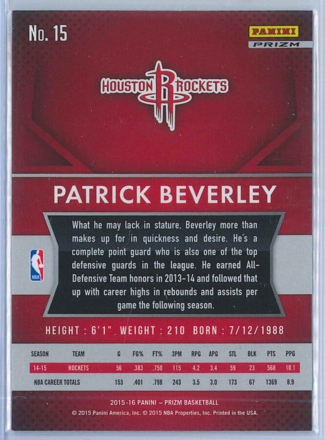 Patrick Beverley Panini Prizm Basketball 2015 16 Base Red White Blue Parallel 2