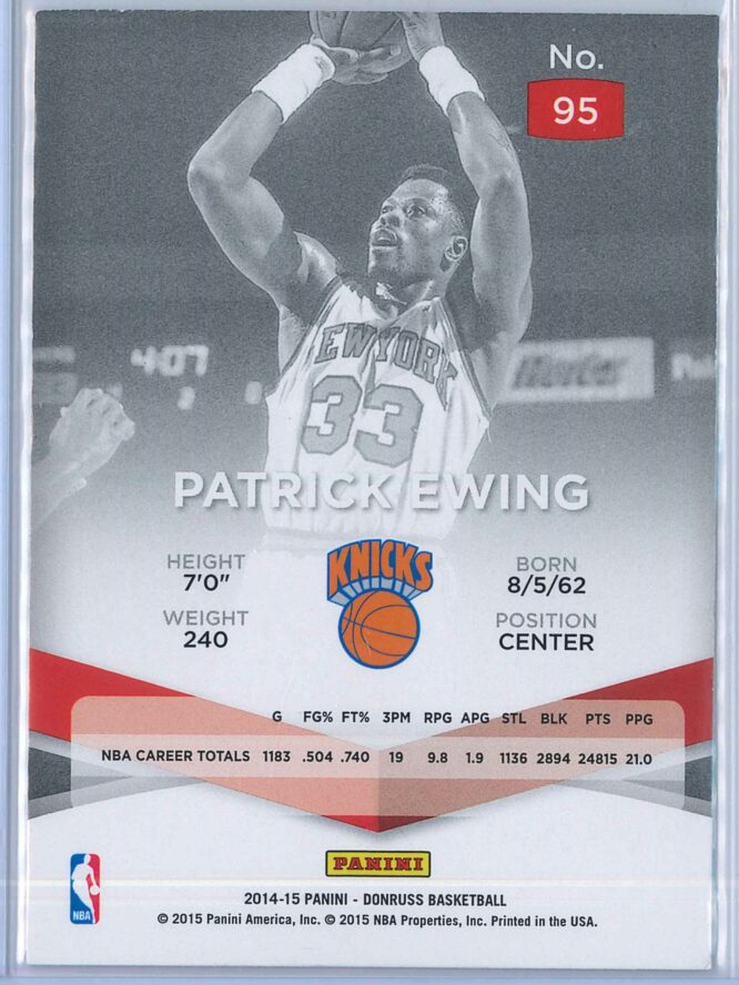 Patrick Ewing Panini Donruss Basketball 2014 15 Elite 2
