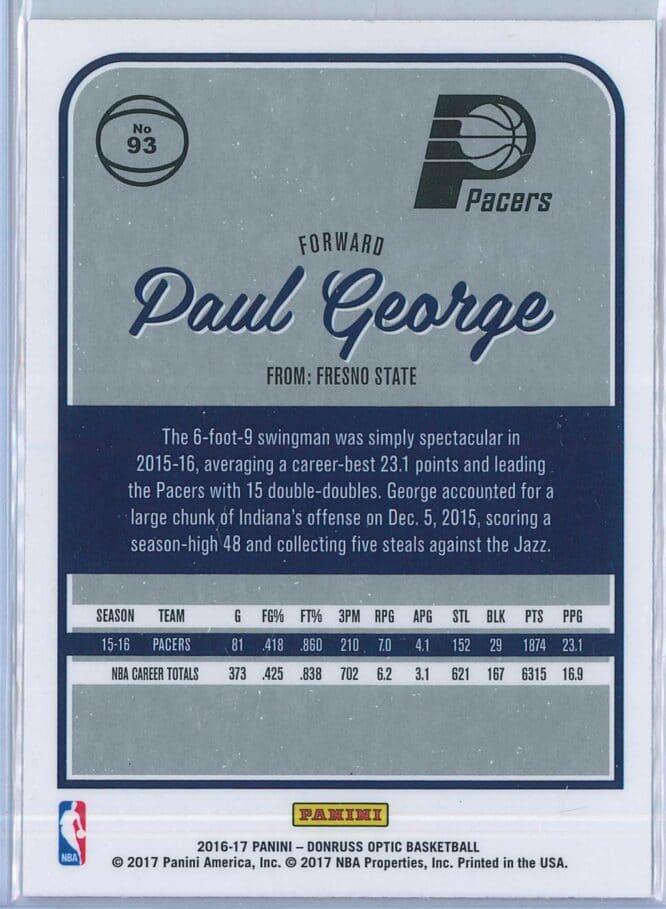 Paul George Panini Donruss Optic Basketball 2016 17 Base 2