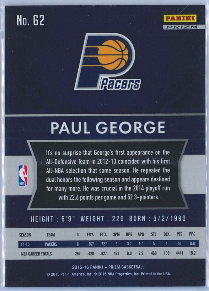 Paul George Panini Prizm Basketball 2015 16 Base Red White Blue Parallel 2