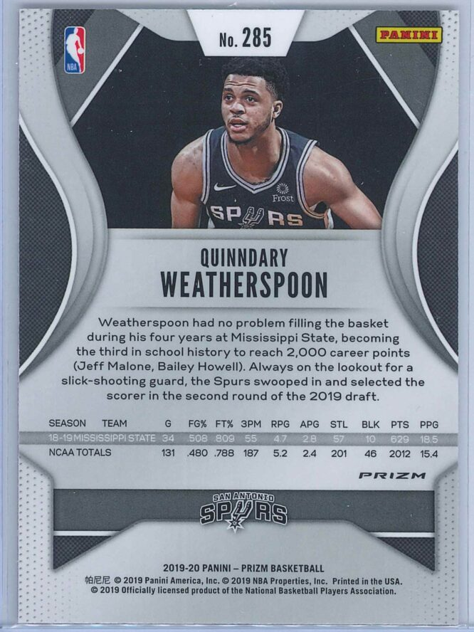 Quinndary Weatherspoon Panini Prizm Basketball 2019 20 Base Red Ice Parallel RC 2