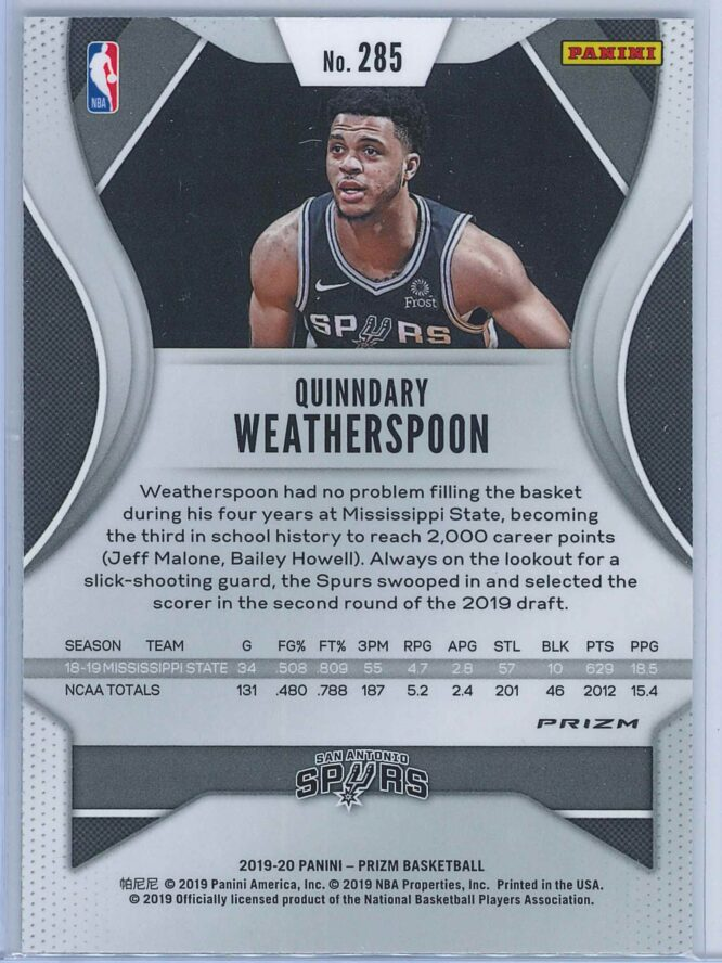 Quinndary Weatherspoon Panini Prizm Basketball 2019 20 Base Silver RC 2