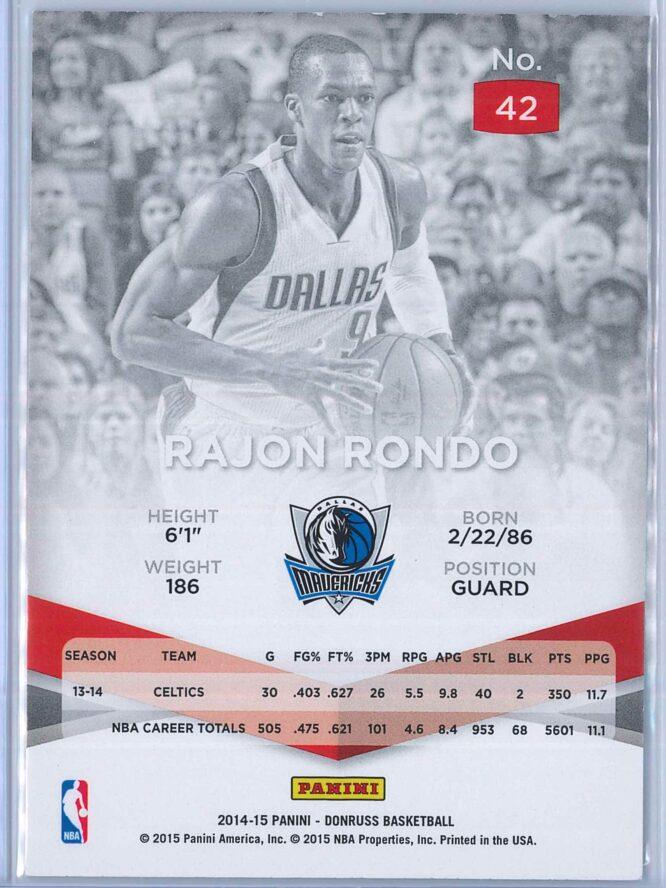 Rajon Rondo Panini Donruss Basketball 2014 15 Elite 2