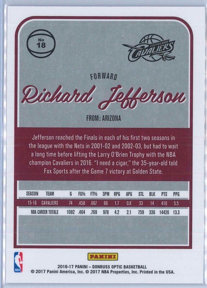 Richard Jefferson Panini Donruss Optic Basketball 2016 17 Base 2