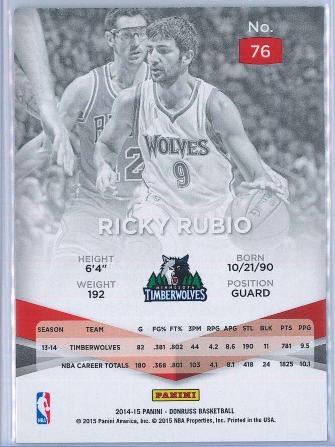 Ricky Rubio Panini Donruss Basketball 2014 15 Elite 2