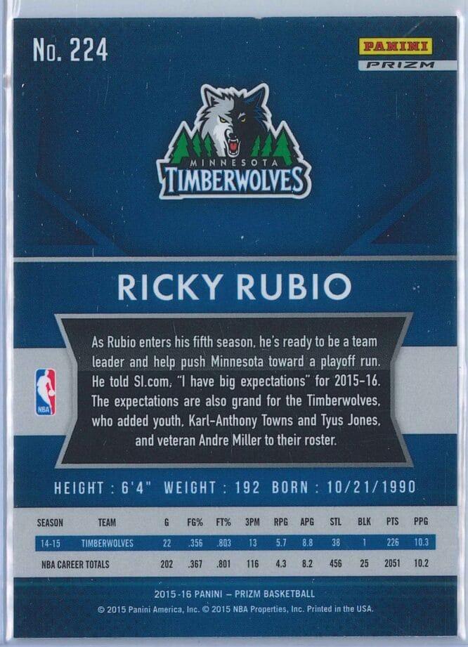 Ricky Rubio Panini Prizm Basketball 2015 16 Base Red White Blue Parallel 2