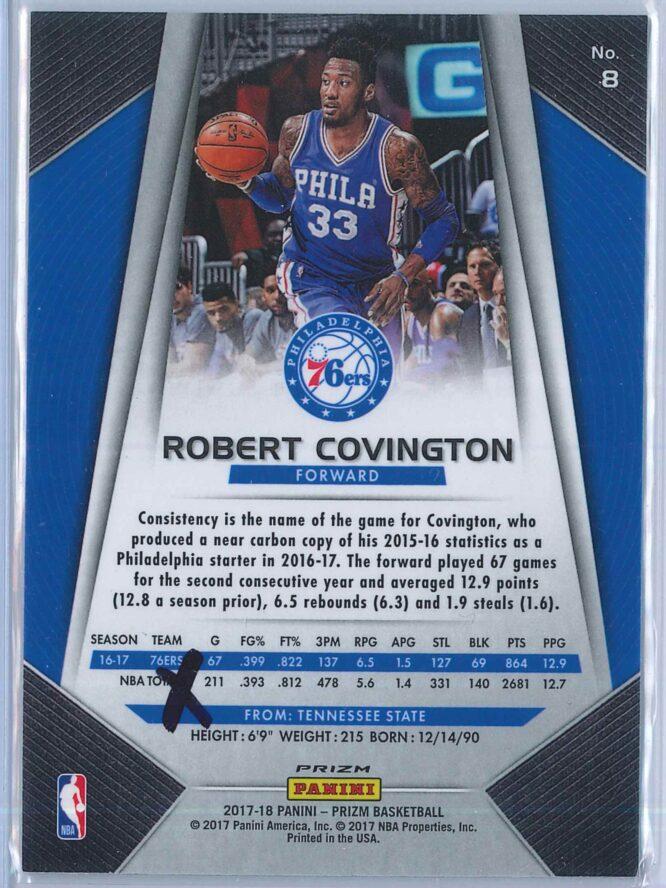 Robert Covington Panini Prizm Basketball 2017 18 Base Red White Blue Parallel 2