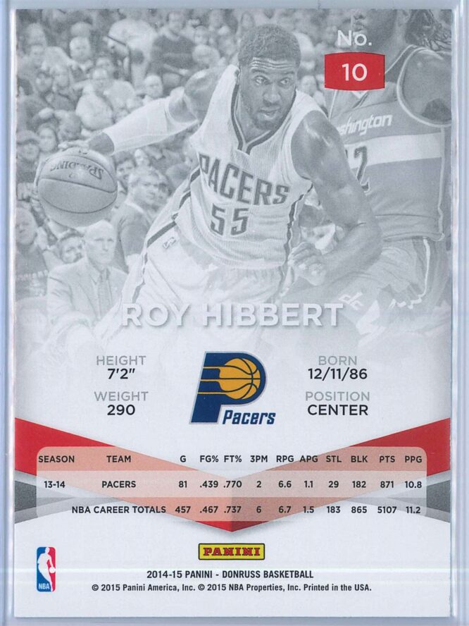 Roy Hibbert Panini Donruss Basketball 2014 15 Elite 2