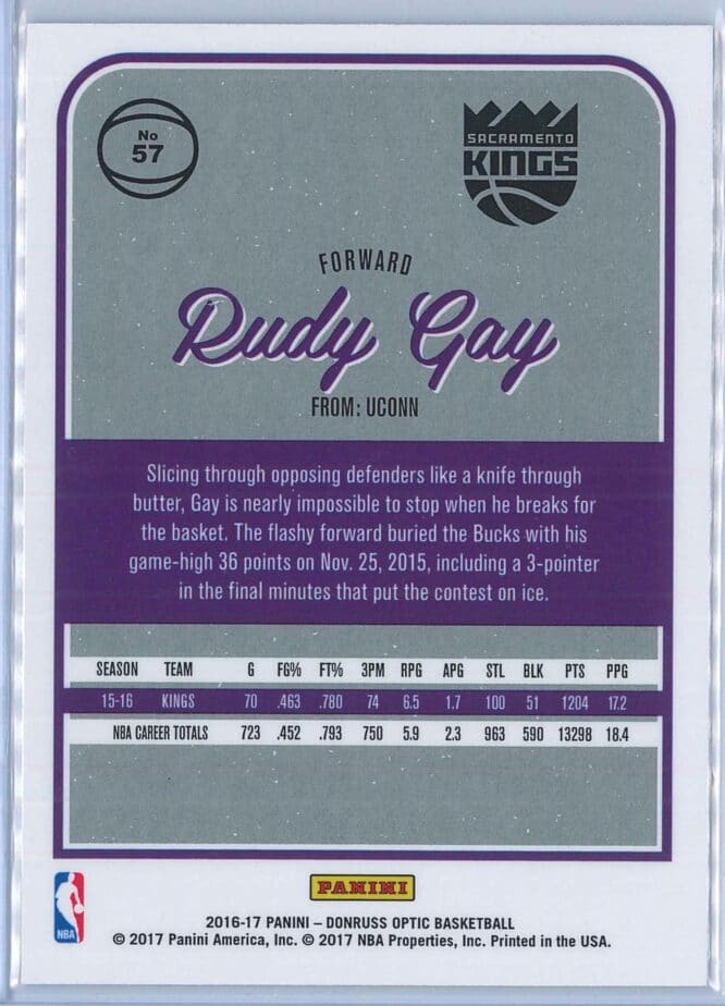 Rudy Gay Panini Donruss Optic Basketball 2016 17 Base 2
