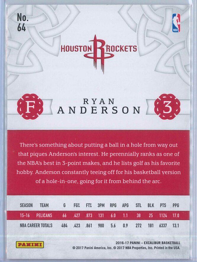 Ryan Anderson Panini Excalibur Basketball 2016 17 Base Viscount Parallel 2