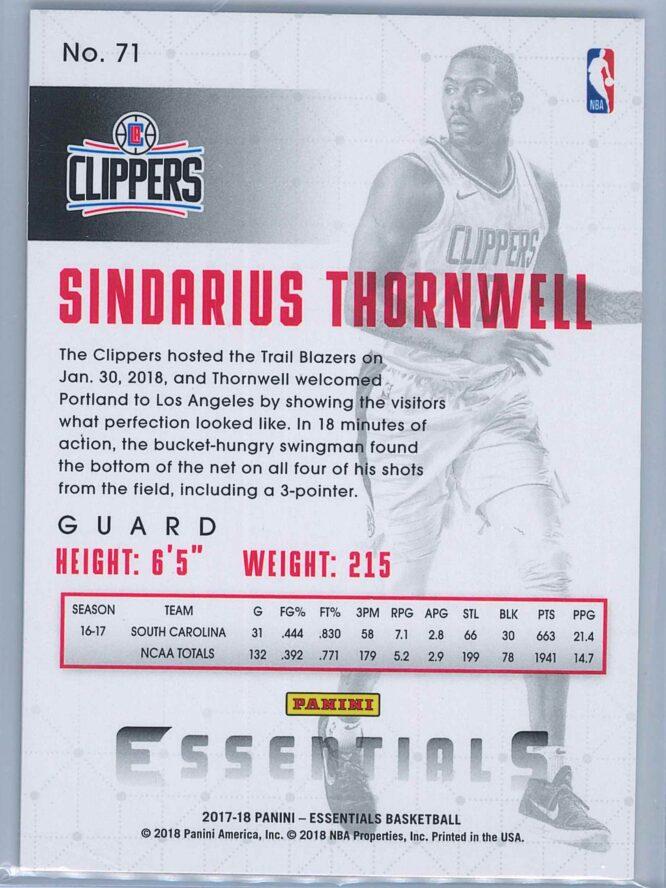 Sindarius Thornwell Panini Essentials Basketball 2017 18 Base Spiral RC 2