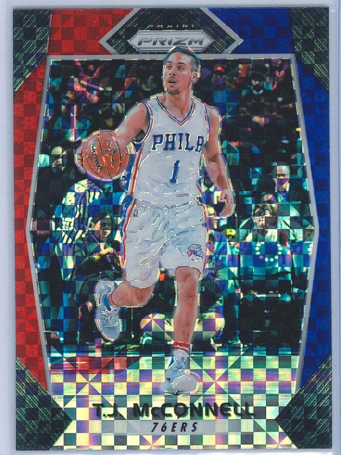 T.J. McConnell Panini Prizm Basketball 2017-18 Base Red White Blue Parallel
