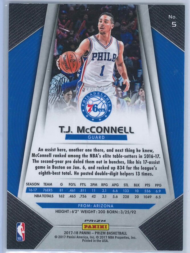 T.J. McConnell Panini Prizm Basketball 2017 18 Base Red White Blue Parallel 2