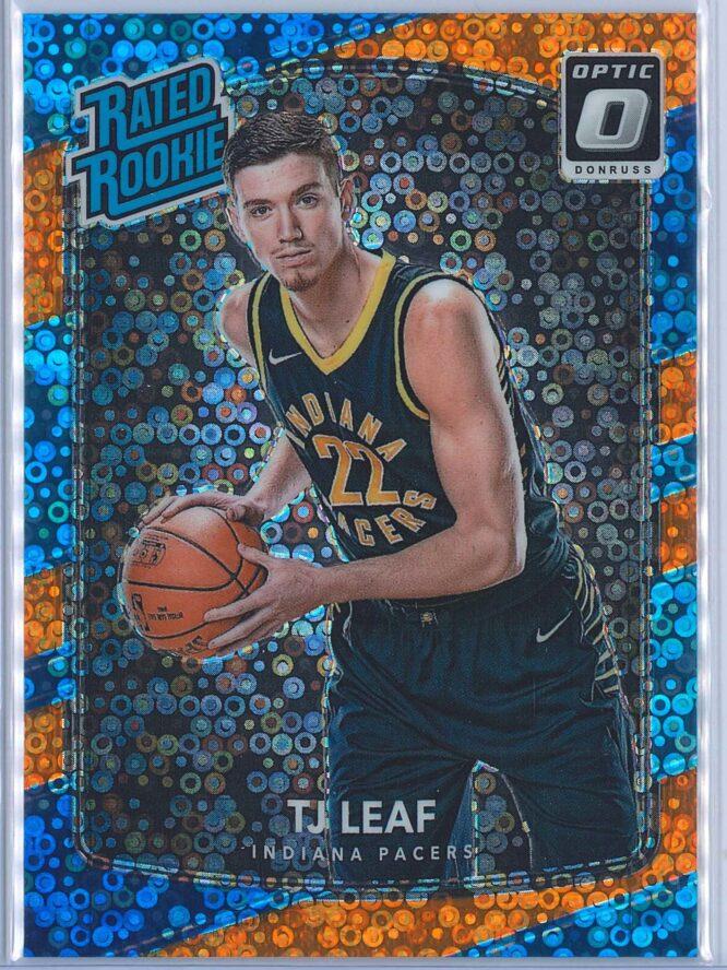 TJ Leaf Panini Donruss Optic Basketball 2017 18 Rated Rookie Orange Fast Break Parallel 044193 1