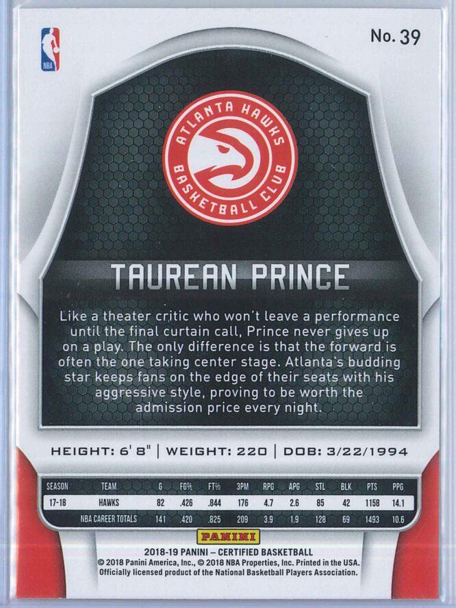 Taurean Prince Panini Certified Basketball 2018 19 Base 2