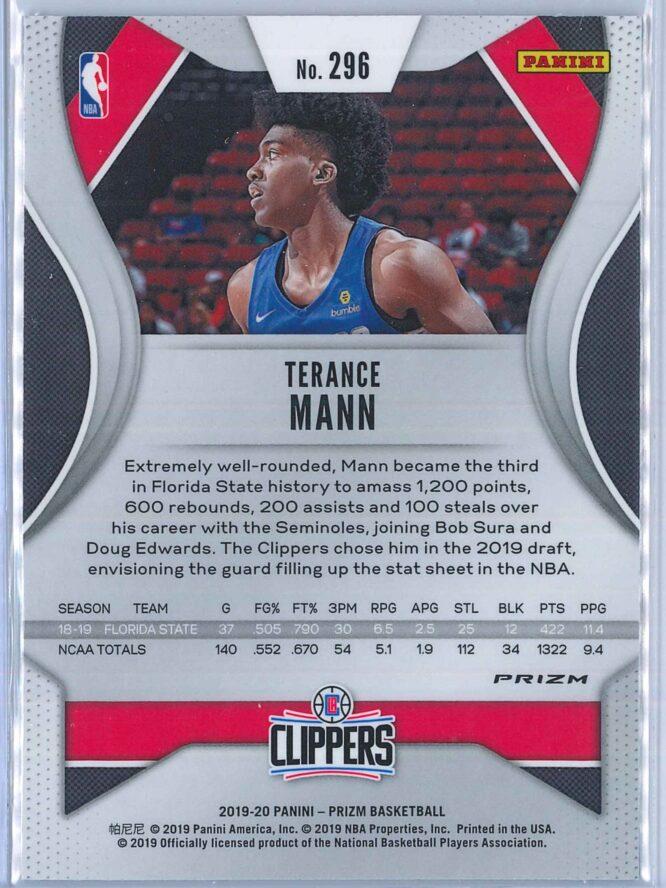 Terance Mann Panini Prizm Basketball 2019 20 Base Green Parallel RC 2