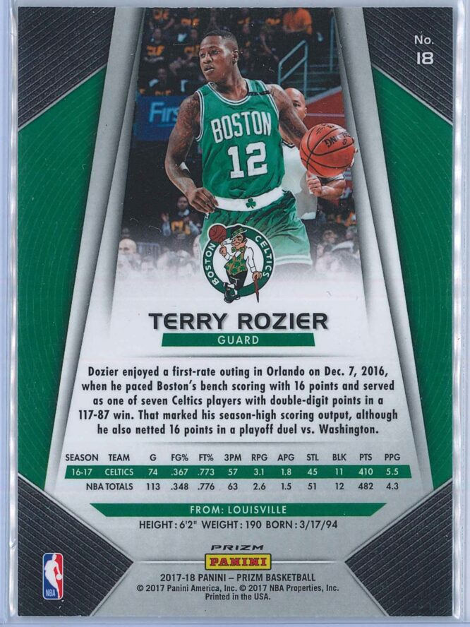 Terry Rozier Panini Prizm Basketball 2017 18 Base Red White Blue Parallel 2