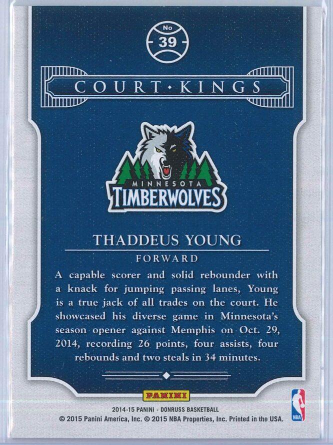 Thaddeus Young Panini Donruss Basketball 2014 15 Court Kings 2