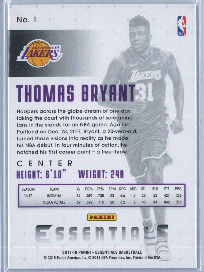 Thomas Bryant Panini Essentials Basketball 2017 18 Base Green RC 2