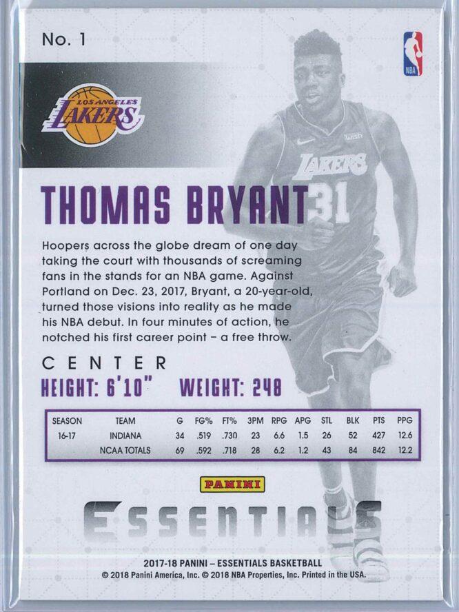 Thomas Bryant Panini Essentials Basketball 2017 18 Base Spiral RC 2