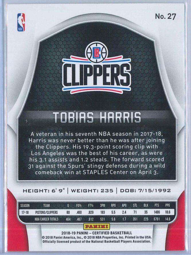 Tobias Harris Panini Certified Basketball 2018 19 Base Red Mirror 012299 2