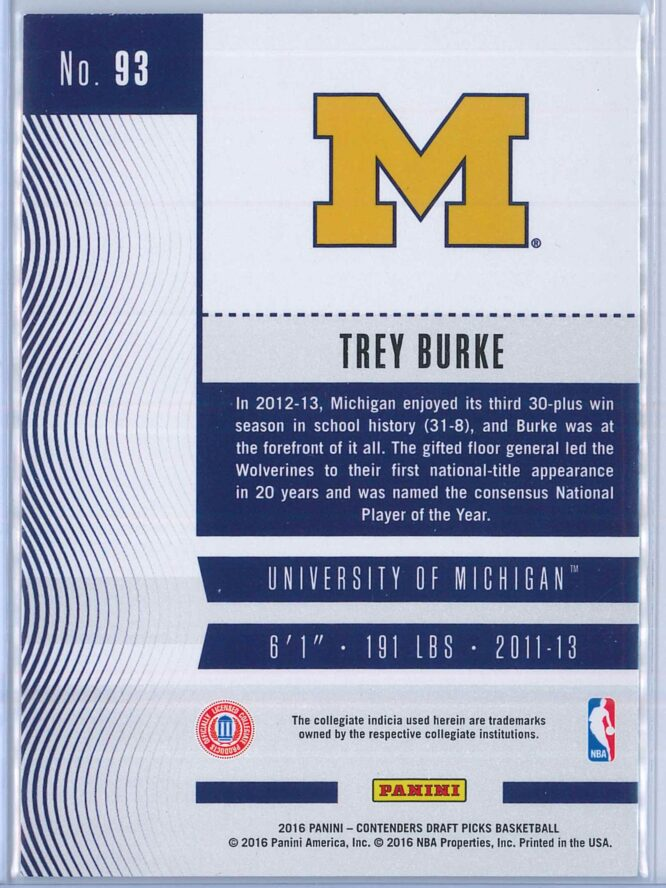 Trey Burke Panini Contenders Draft Picks Basketball 2016 17 Base Season Ticket 2