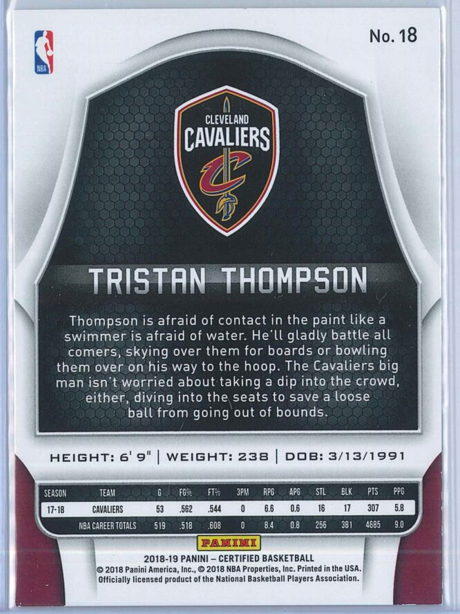 Tristan Thompson Panini Certified Basketball 2018 19 Base Orange Mirror 3999 2