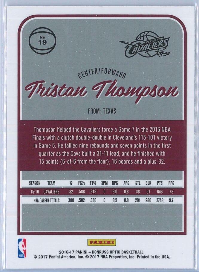 Tristan Thompson Panini Donruss Optic Basketball 2016 17 Base 2