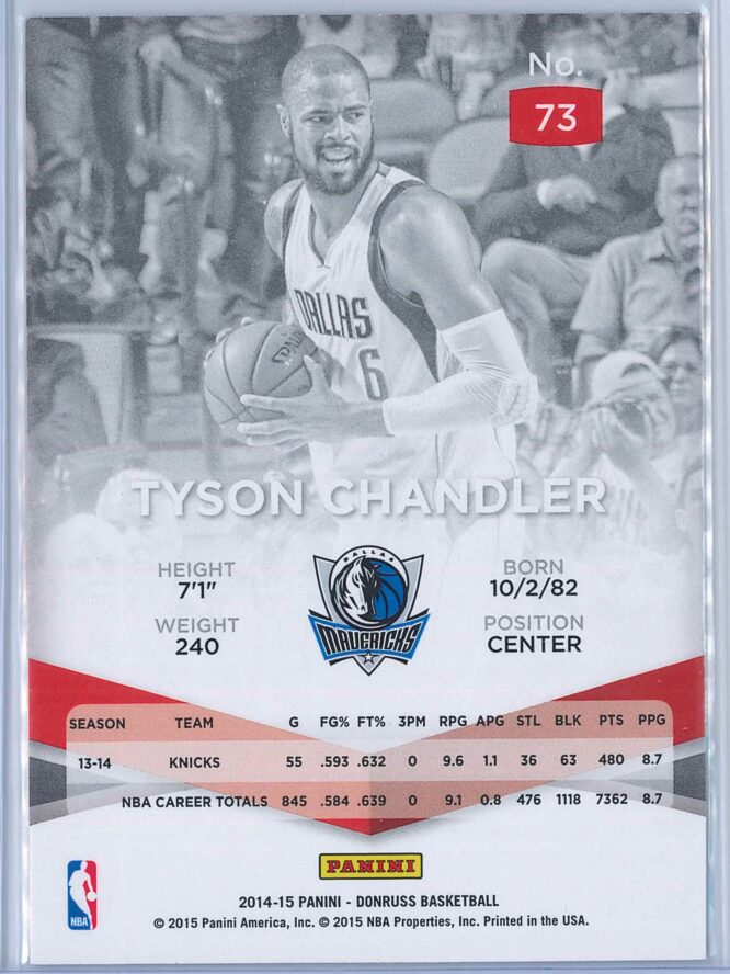 Tyson Chandler Panini Donruss Basketball 2014 15 Elite 2