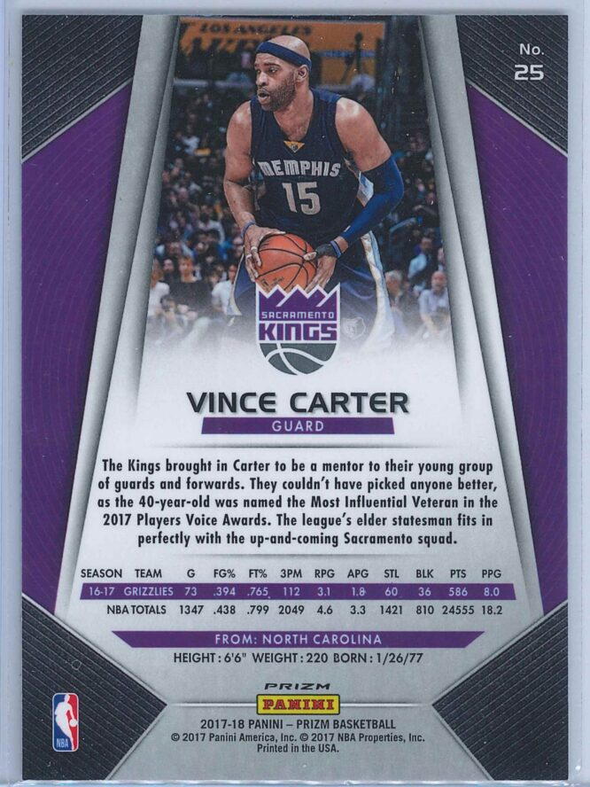 Vince Carter Panini Prizm Basketball 2017 18 Base Red White Blue Parallel 2