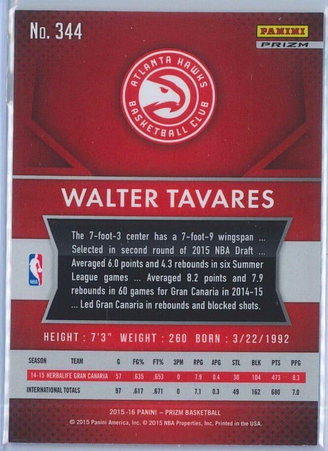 Walter Tavares Panini Prizm Basketball 2015 16 Base Red White Blue Parallel RC 2