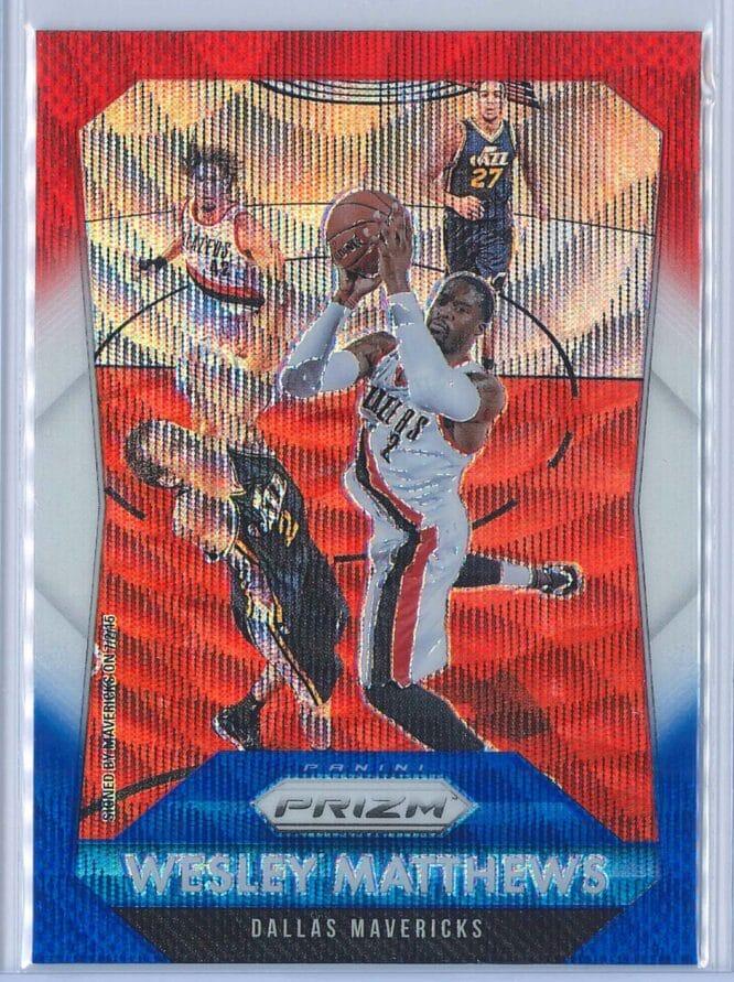 Wesley Matthews Panini Prizm Basketball 2015-16 Base Red White Blue Parallel