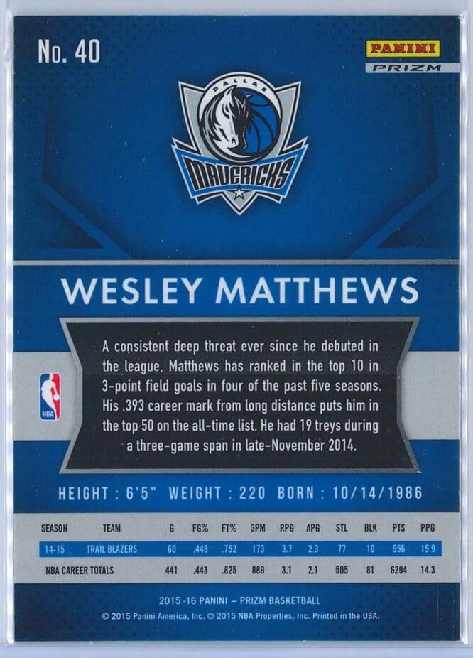 Wesley Matthews Panini Prizm Basketball 2015 16 Base Red White Blue Parallel 2