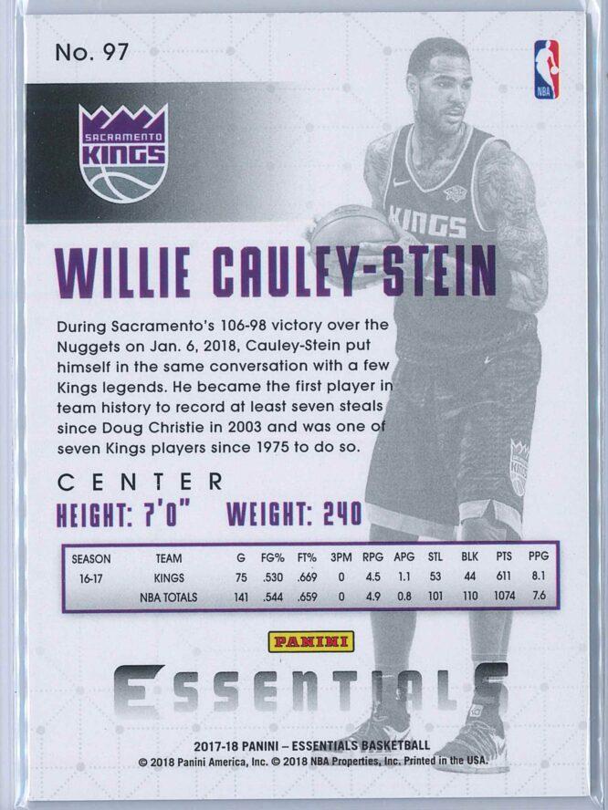 Willie Cauley Stein Panini Essentials Basketball 2017 18 Base Green 2