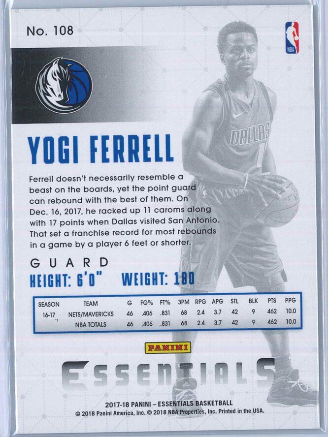 Yogi Ferrell Panini Essentials Basketball 2017 18 Base Green 2