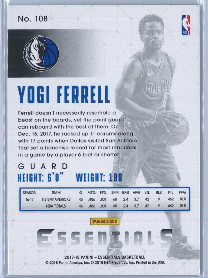 Yogi Ferrell Panini Essentials Basketball 2017 18 Base Spiral 2