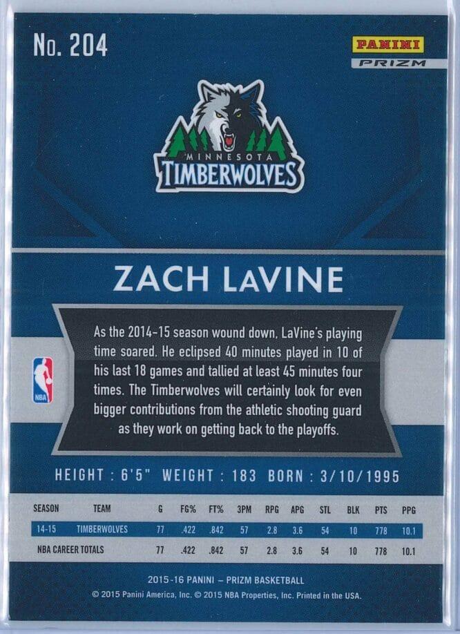 Zach LaVine Panini Prizm Basketball 2015 16 Base Red White Blue Parallel 2