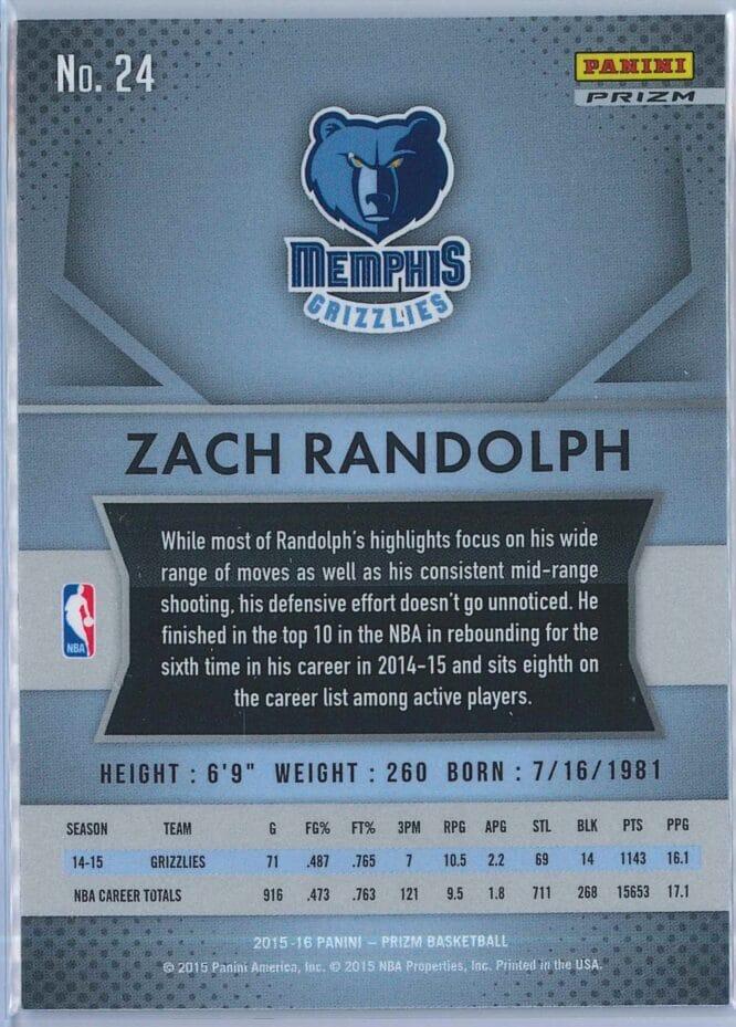 Zach Randolph Panini Prizm Basketball 2015 16 Base Red White Blue Parallel 2