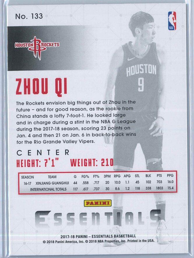 Zhou Qi Panini Essentials Basketball 2017 18 Base Green RC 2