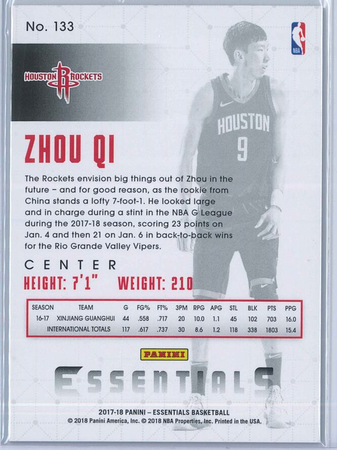 Zhou Qi Panini Essentials Basketball 2017 18 Base Spiral RC 2