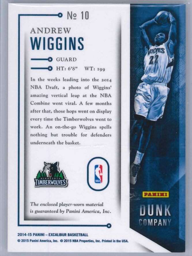 Andrew Wiggins Panini Excalibur 2014 15 Dunk Co Rookie Patch 2 scaled