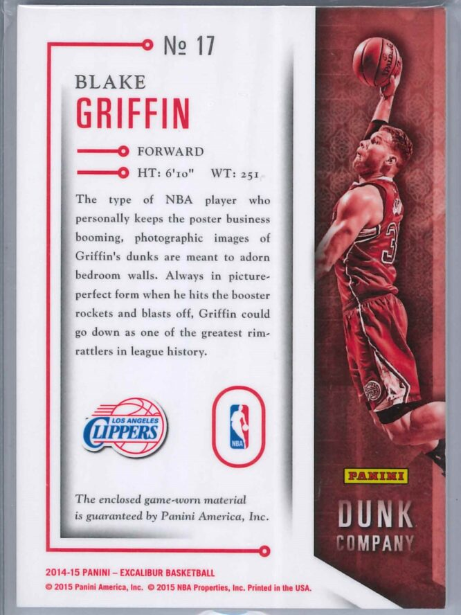 Blake Griffin Panini Excalibur 2014 15 Dunk Co Patch Gold 0425 2 scaled