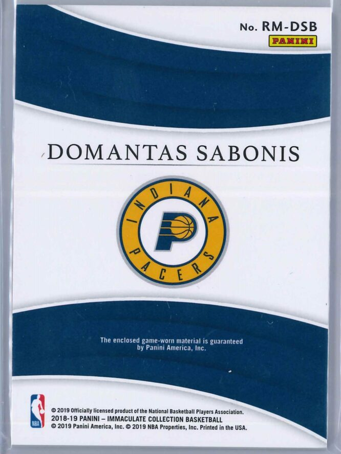 Domantas Sabonis Panini Immaculate 2018 19 Remarkable 2049 2 scaled