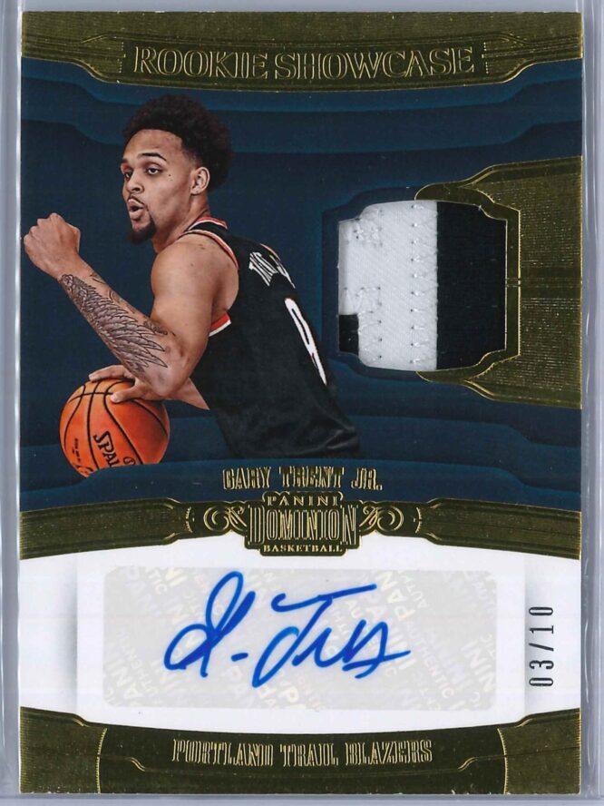 Gary Trent Jr. Panini Dominion 2018 19 Rookie Showcase Patch Auto Gold 0310 1 scaled
