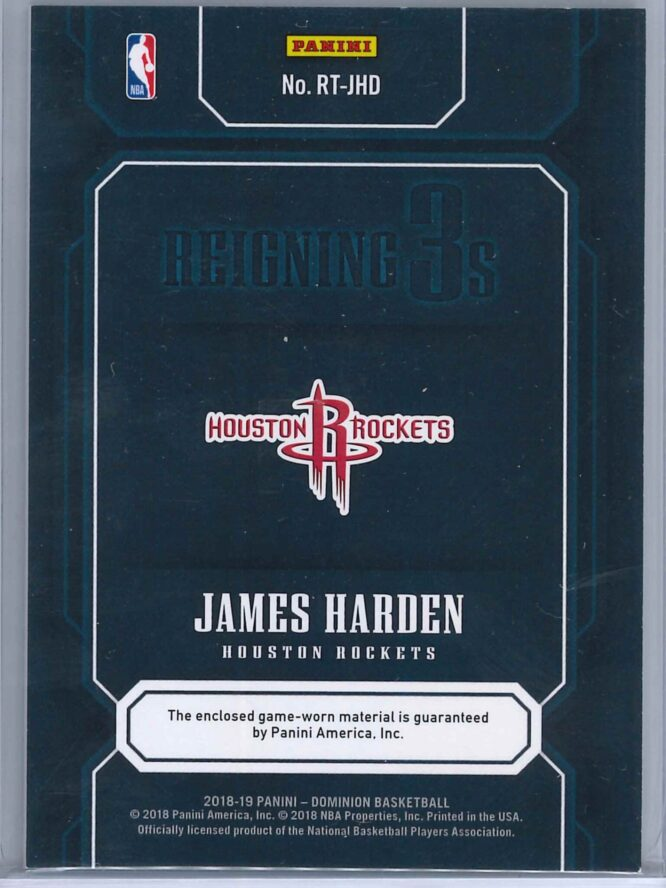 James Harden Panini Dominion 2018 19 Reigning 3s Gold 0710 2 scaled