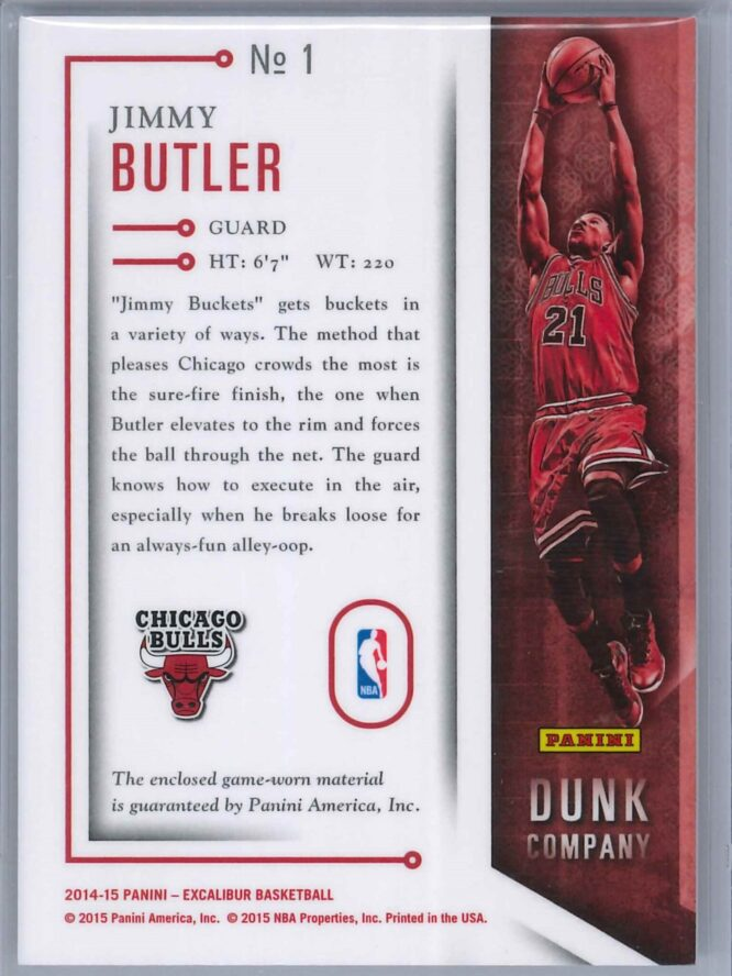 Jimmy Butler Panini Excalibur 2014 15 Dunk Co Patch 2 scaled