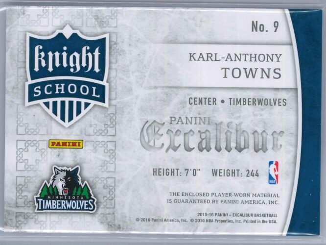 Karl Anthony Towns Panini Excalibur 2015 16 Knight School RC Patch 2 scaled