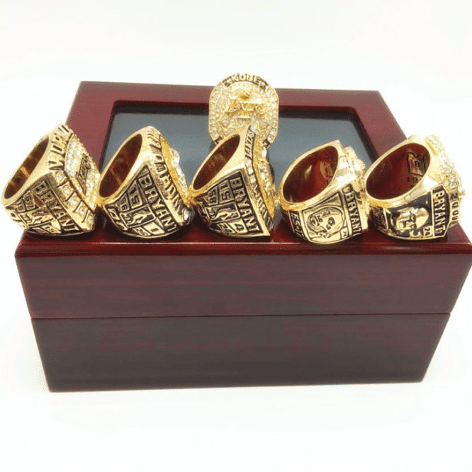 Kobe Bryant Mamba Los Angeles Lakers Championship 6 Rings Set Wooden Box 1