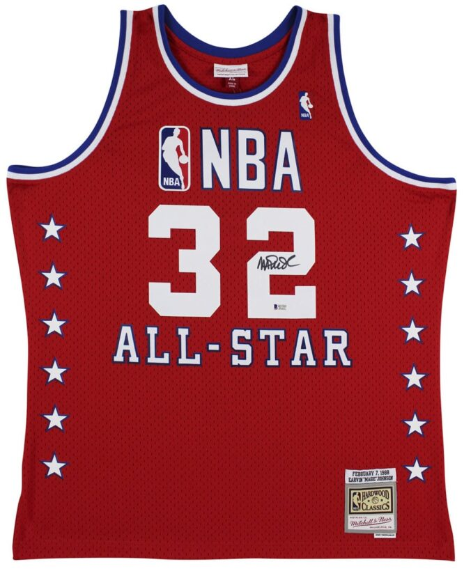 Lakers Magic Johnson Authentic Signed 1988 MN HWC All Star Red Jersey 2