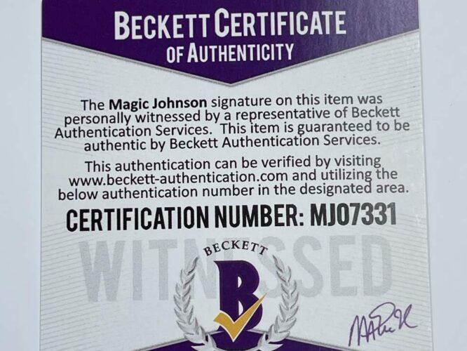 Lakers Magic Johnson HOF 02 Signed 84 85 MN HWC Purple Jersey BAS MJ07331 2